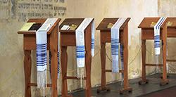 Prayer shawls in synagogue